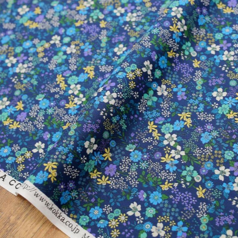 Kokka Floral 6 - Cotton Lawn - Blue E - 50cm