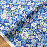 Kokka Floral 2 Small Daisies- Cotton Lawn - Blue E - 50cm