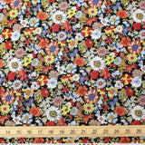 Kokka Floral 2 Small Daisies- Cotton Lawn - Black Red F - Fat Quarter