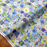 Kokka Floral 2 Small Daisies- Cotton Lawn - Light Blue C - Fat Quarter