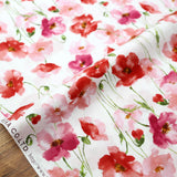 Kokka Floral 3 Large Flowers - Cotton Lawn - Red A - 50cm