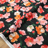 Kokka Floral 3 Large Flowers - Cotton Lawn - Black Red F - 50cm