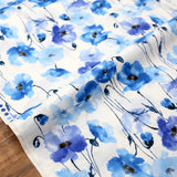 Kokka Floral 3 Large Flowers - Cotton Lawn - Blue B - 50cm