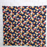Kokka Floral 3 Large Flowers - Cotton Lawn - Black Orange E - 50cm