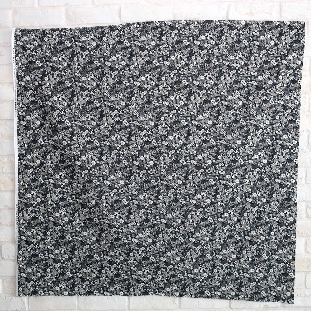 Kokka Floral 1 - Cotton Lawn - Black F - Fat Quarter
