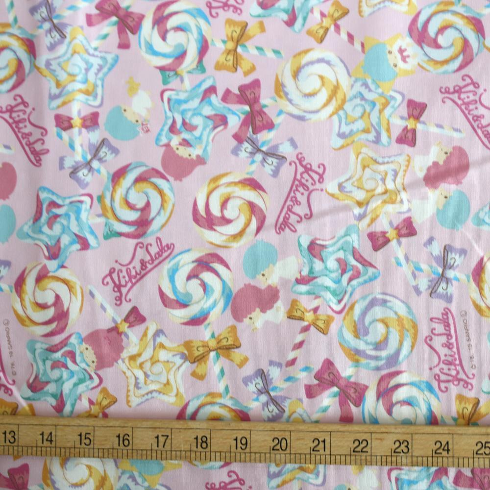 Hello Kitty Sanrio Twin Stars Lollipop Cotton Canvas - Pink - Fat Quarter
