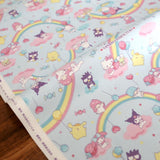 Hello Kitty Sanrio Collage Rainbow - Cotton Canvas - Blue - 50cm