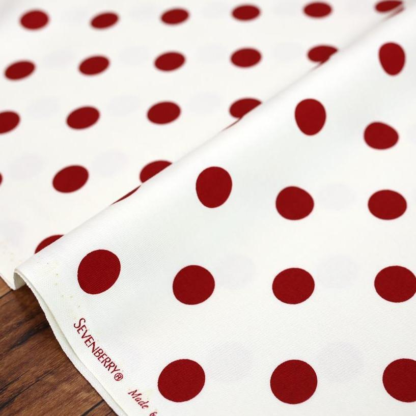 Sevenberry Medium Polka Dots Cotton Twill - White Red - 50cm