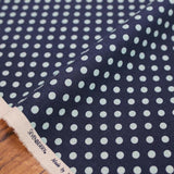 Sevenberry Small Polka Dots Cotton Linen Canvas - Metallic Blue - 50cm