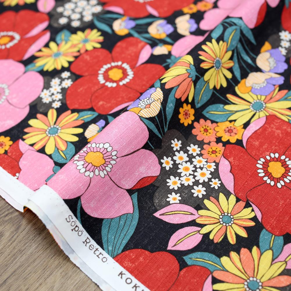 Kokka Sopo Retro Floral Cotton Dobby - Black - 50cm