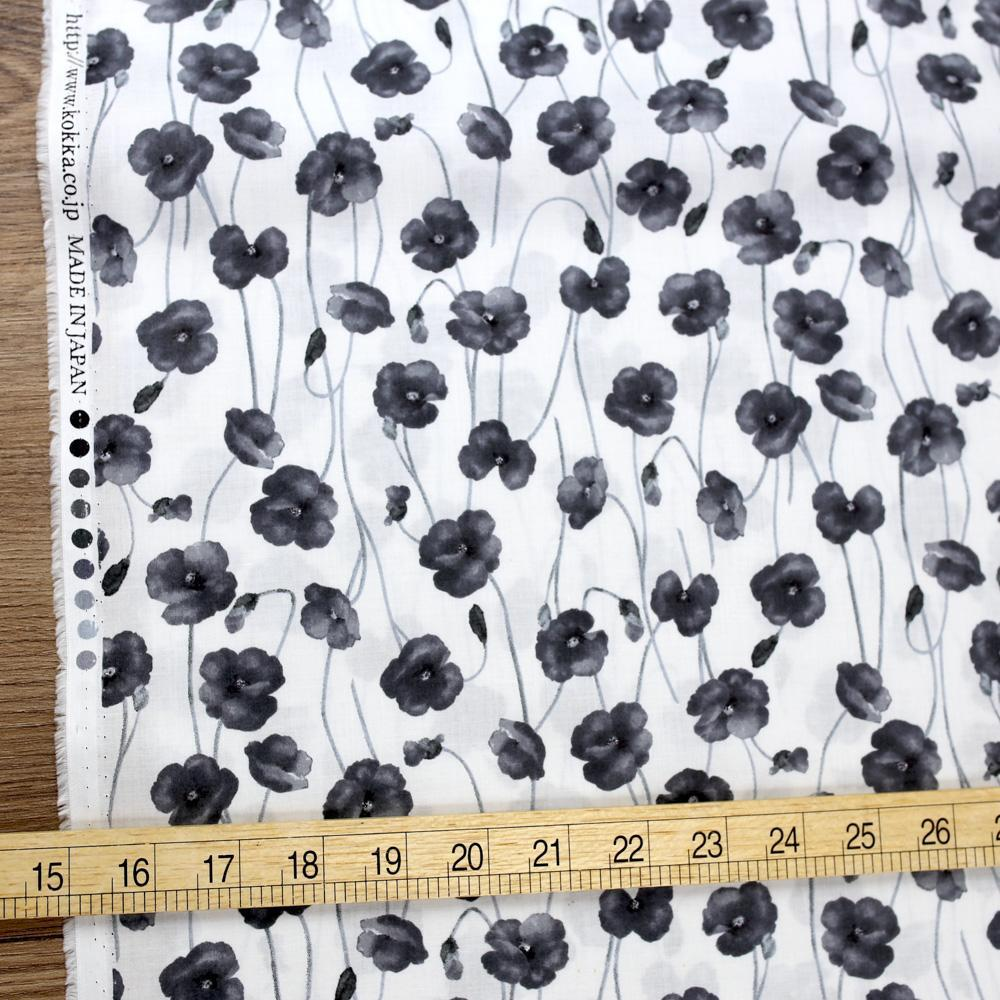 Kokka Floral Organic Cotton Lawn - Black - Fat Quarter