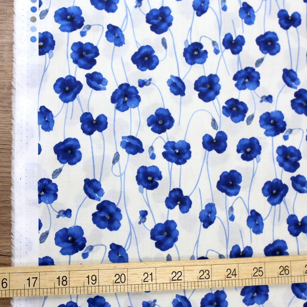 Kokka Floral Organic Cotton Lawn - Blue - Fat Quarter