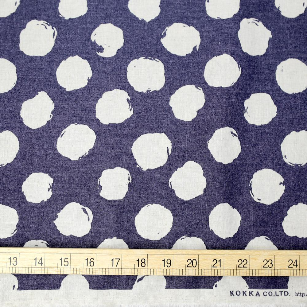 Kokka Cotton Linen Large Dots - Navy - 50cm