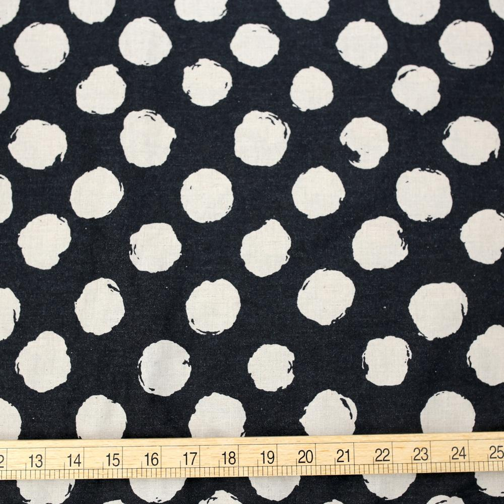 Kokka Cotton Linen Large Dots - Black - 50cm