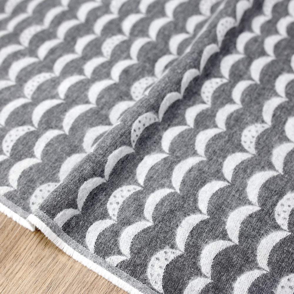 Kokka Waves Reversible Brushed Soft Jacquard - Grey - 50cm