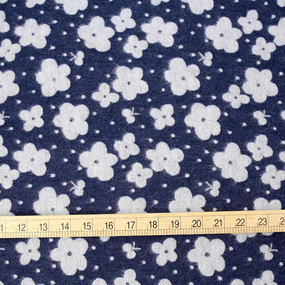 Kokka Floral Reversible Brushed Soft Jacquard - Navy - 50cm