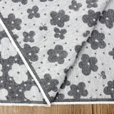 Kokka Floral Reversible Brushed Soft Jacquard - Grey - 50cm