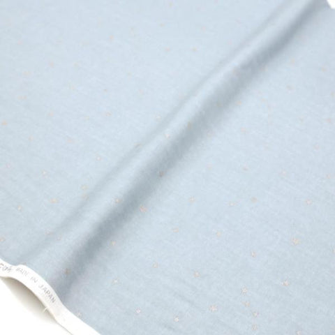 Kobayashi Metallic Starry Double Gauze - Blue Grey Q - Half Meter - Nekoneko Fabric