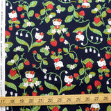 Hello Kitty Sanrio Strawberries - Cotton Canvas - Black - 50cm