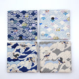 Kobayashi Cats Seigaiha & Surfing Waves Neko Canvas Bundle - 4 x Fat Quarters