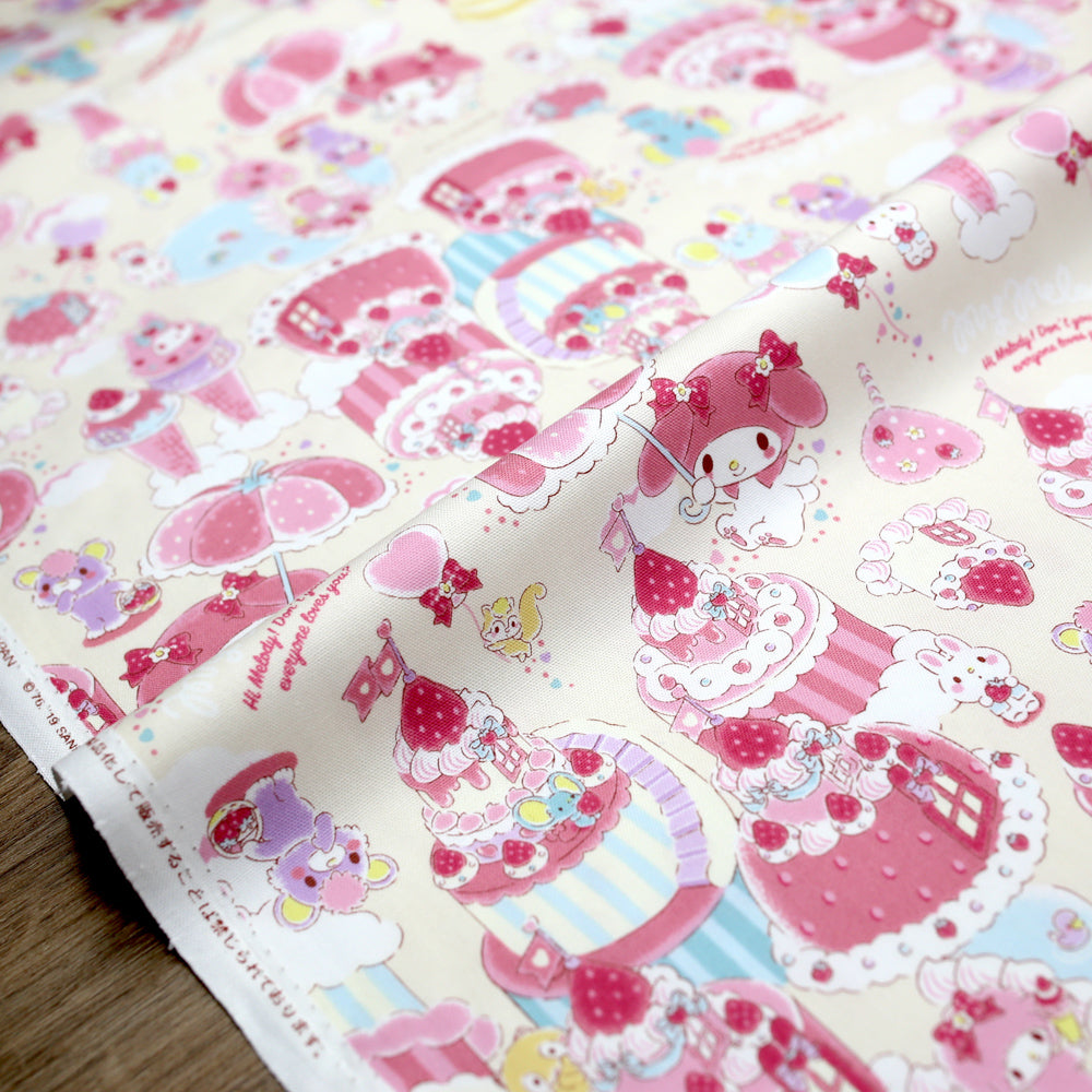 Sanrio Hello Kitty Sanrio My Melody Cakes - Cotton Canvas - Beige - 50cm