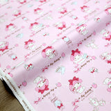 Sanrio Hello Kitty My Melody lattice  - Cotton Canvas - Pink - 50cm