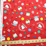 Hello Kitty Sanrio 45th Anniversary - Cotton Canvas - Red - Fat Quarter