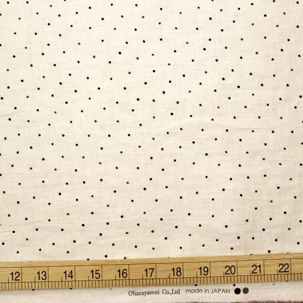 Oharayaseni Polka Dots Washer Finish Linen - Beige - 50cm