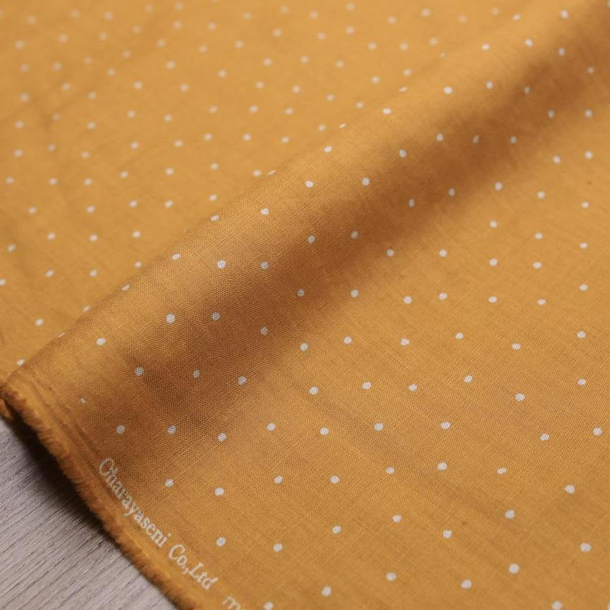 Oharayaseni Polka Dots Washer Finish Linen - Mustard - 50cm