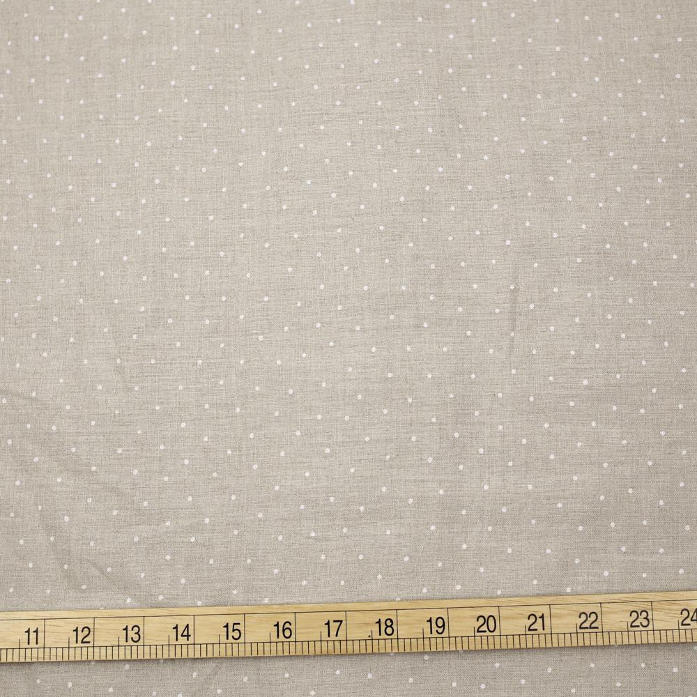 Oharayaseni Polka Dots Washer Finish Linen - Grey - 50cm