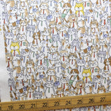 Kokka Cats in Suit - Oxford Canvas - Beige - 50cm