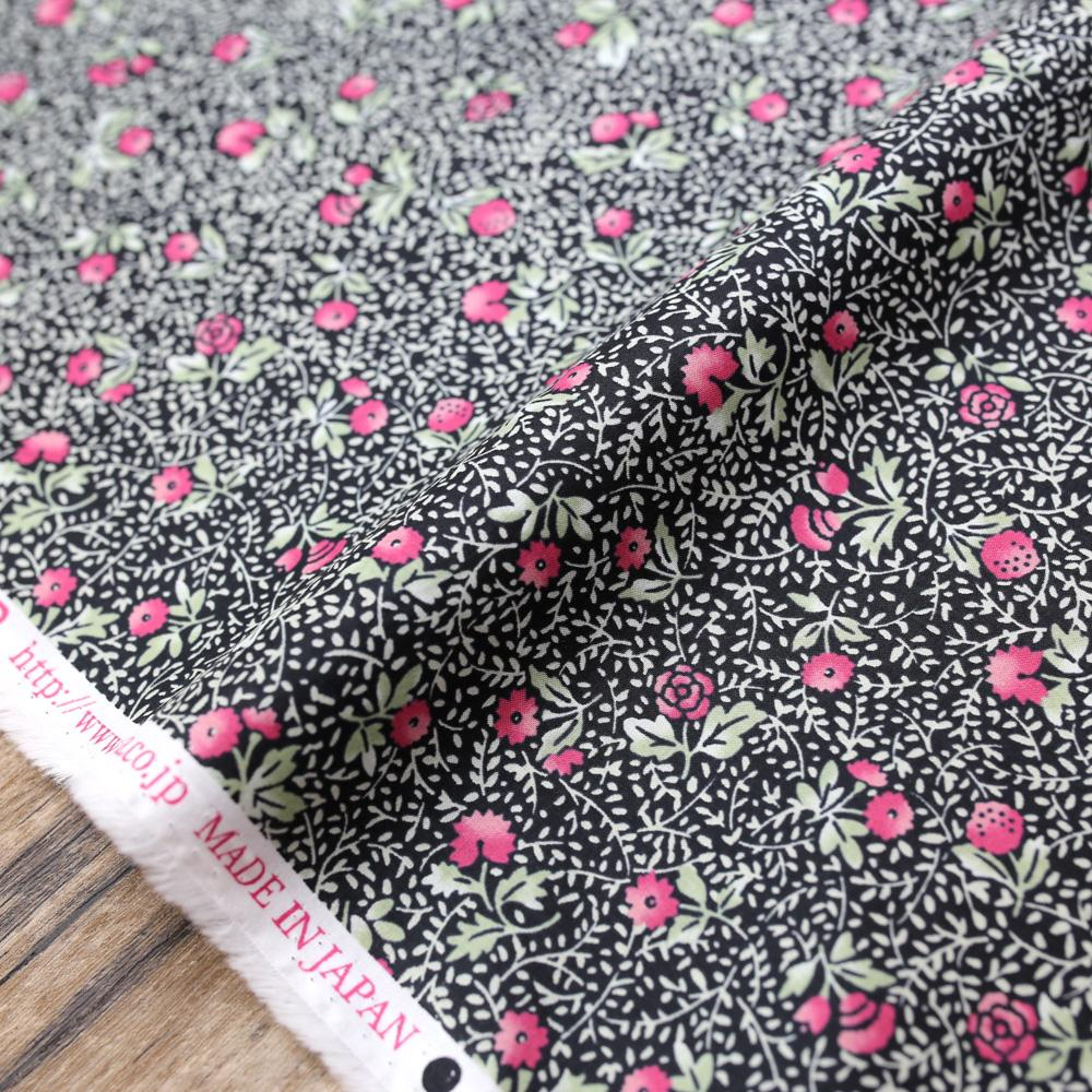 Kokka Retro Small Roses - Organic Cotton - Black - 50cm