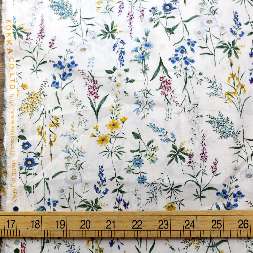 Kokka Retro Floral 2 - Organic Cotton - White - 50cm
