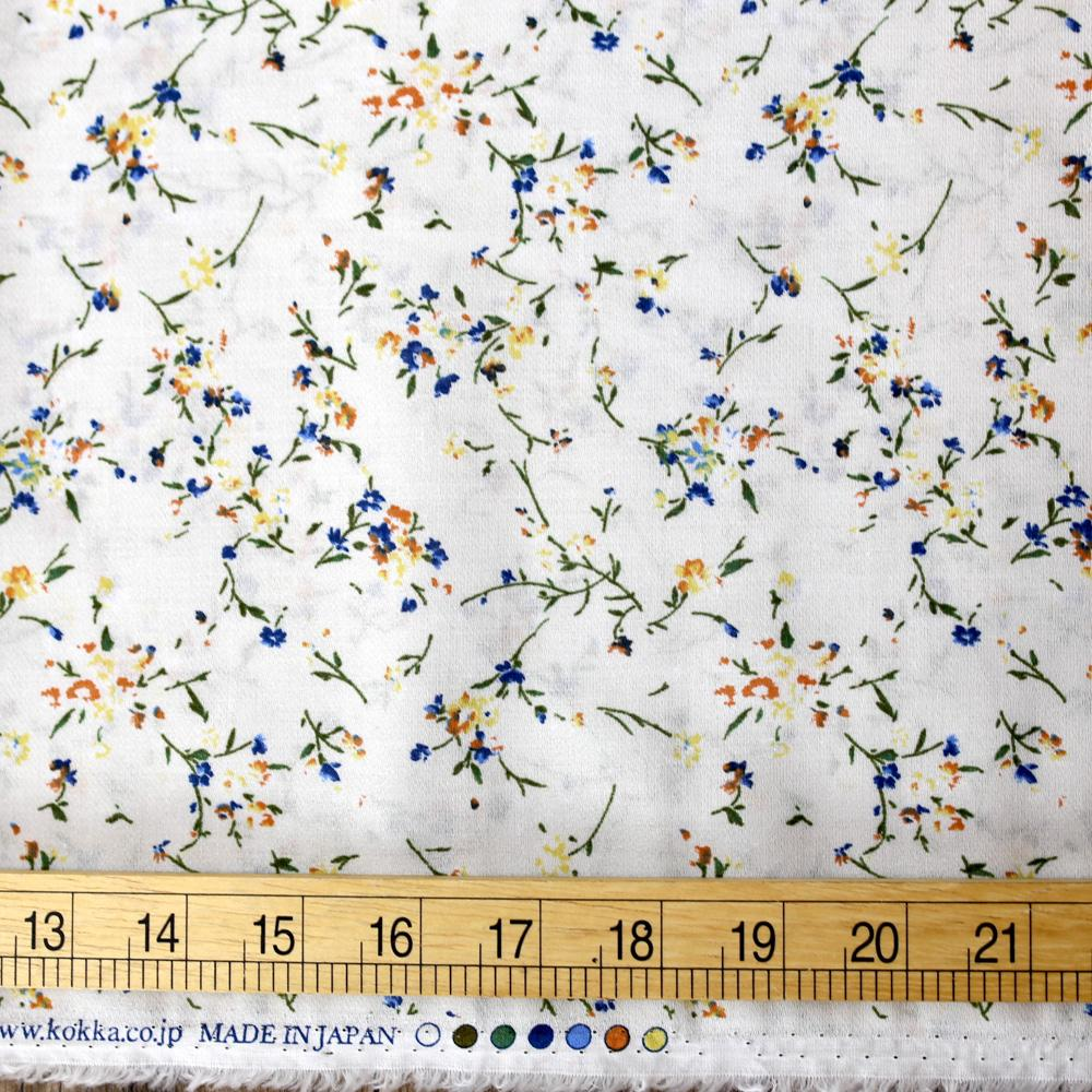 Kokka Retro Floral - Cotton Georgette - White - 50cm