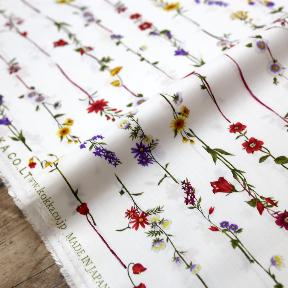 Kokka Retro Floral Vines - Typewriter Cotton Lawn - White Red - 50cm