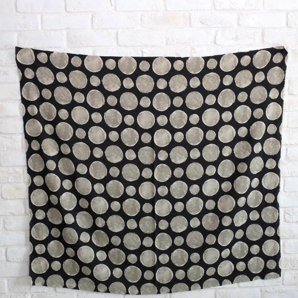 Kokka Textile Painted Large Dots - Cotton Viera - Black - 50cm