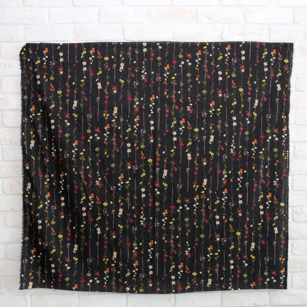 Kokka Retro Floral Vines - Typewriter Cotton Lawn - Black - 50cm