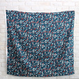Kokka Retro Floral Vines - Cotton Sateen - Blue - 50cm