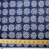 Cosmo Japanese Circle Floral - Double Gauze - Navy - 50cm