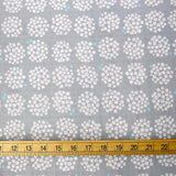 Cosmo Japanese Circle Floral - Double Gauze - Grey - 50cm