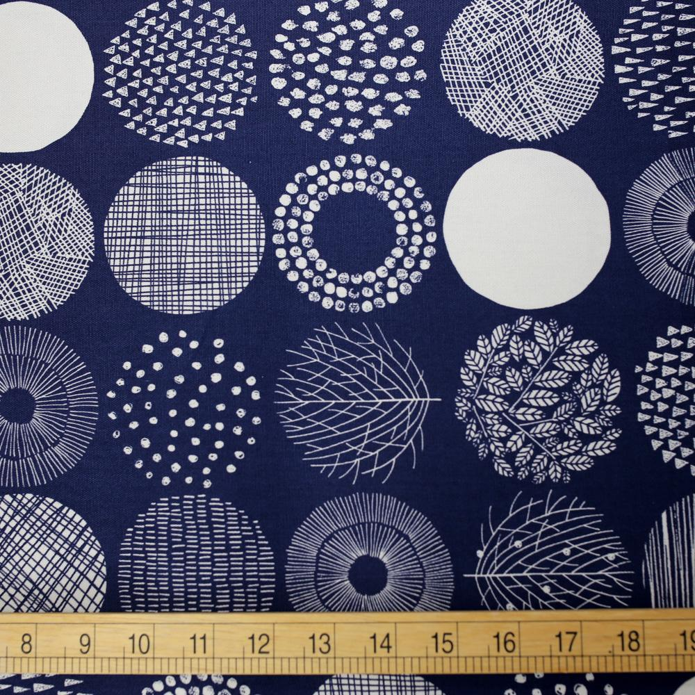 Cosmo Medium Scandinavian Circles - Oxford Canvas - Navy Mono - 50cm