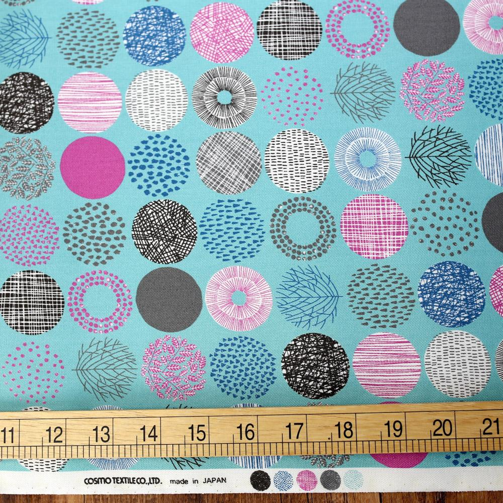 Cosmo Small Scandinavian Circles - Oxford Canvas - Teal - 50cm