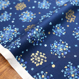 Cosmo Sakura Floral - Oxford Canvas - Metallic Navy - 50cm