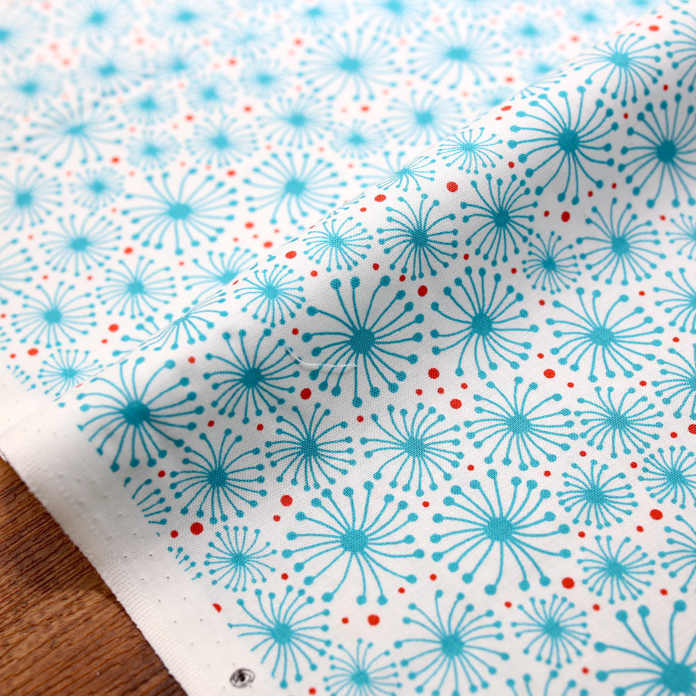 Cotton + Steel Flower Doodles Dandelions - Turquoise - Cotton - Half Yard