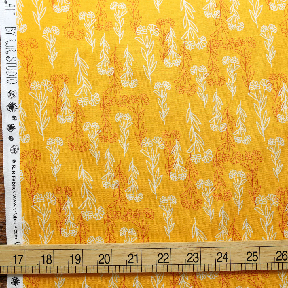 Cotton + Steel Flower Doodles Delicate Floral - Orange - Cotton - Half Yard
