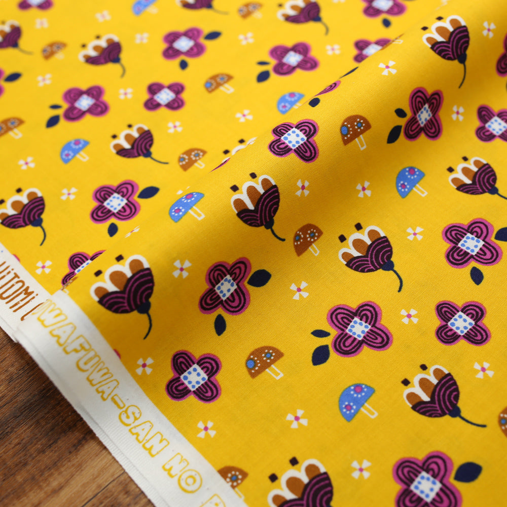Cotton + Steel Fuwafuwa-san no Bokujo Kinoko to Hana-chan - Yellow - Cotton - Half Yard