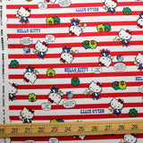 Hello Kitty Sanrio Stripes - Cotton Canvas - Red - Fat Quarter