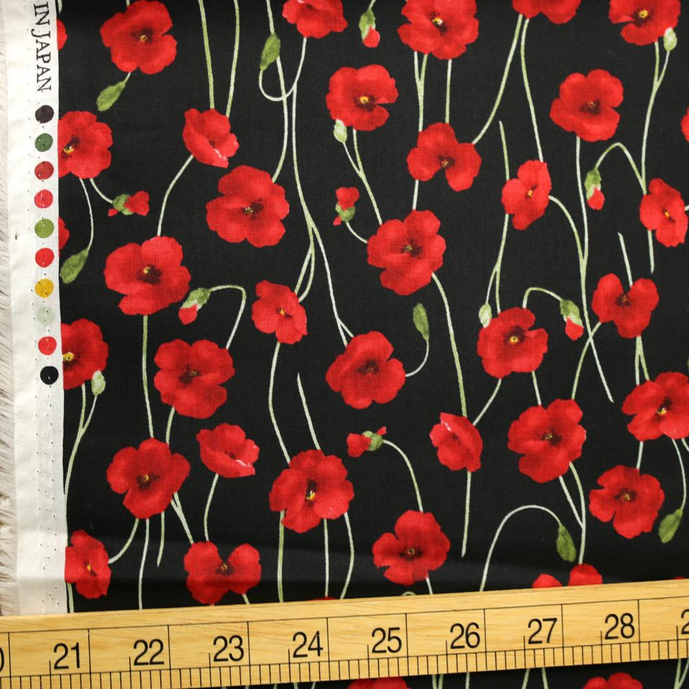 Kokka Floral Organic Cotton Lawn - Red Black - 50cm
