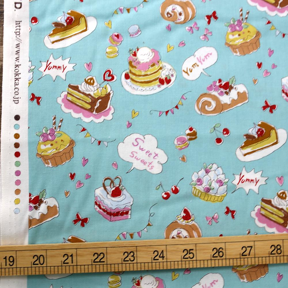Kokka Yummy Fabric Cakes - Cotton Sheeting - Blue - 50cm