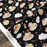 Kokka Yummy Fabric Cakes - Cotton Sheeting - Black - 50cm